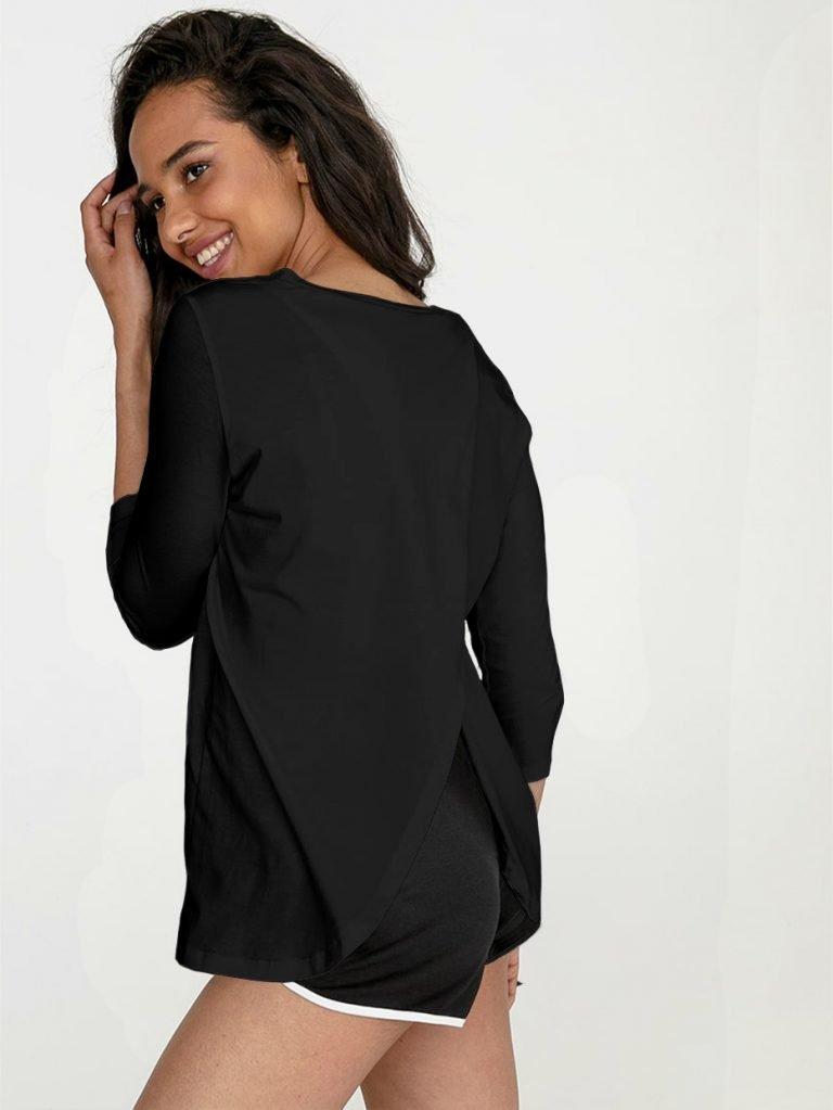 Czarna koszulka z długim rękawem z zapachem na plecach Love&Live