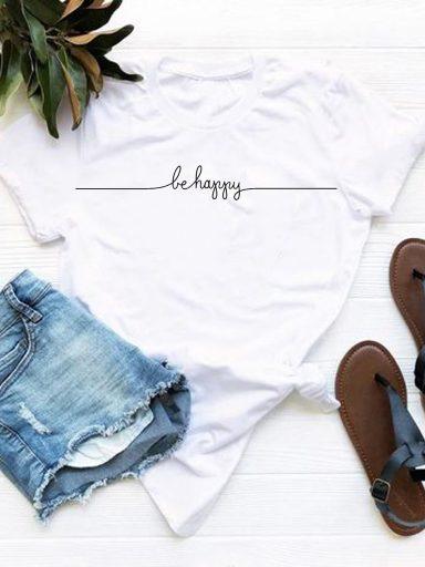 T-shirt biały Be Happy Love&Live (zdjęcie 9)