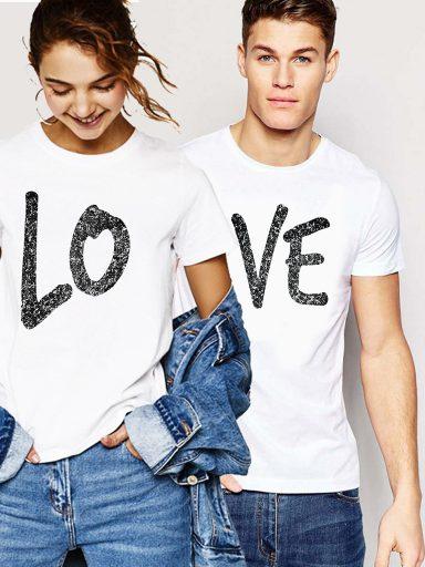 Koszulki dla par komplet 2 szt. Love Love&Live (zdjęcie 4)