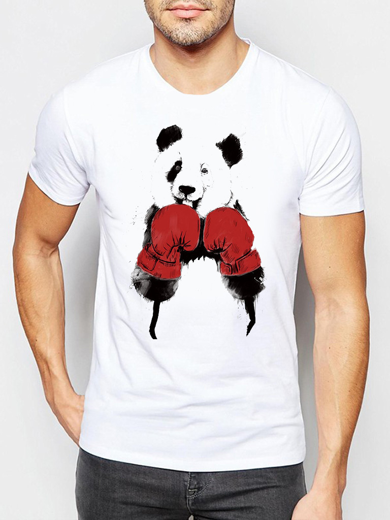 Biały t-shirt męski Panda bokser Love&Live
