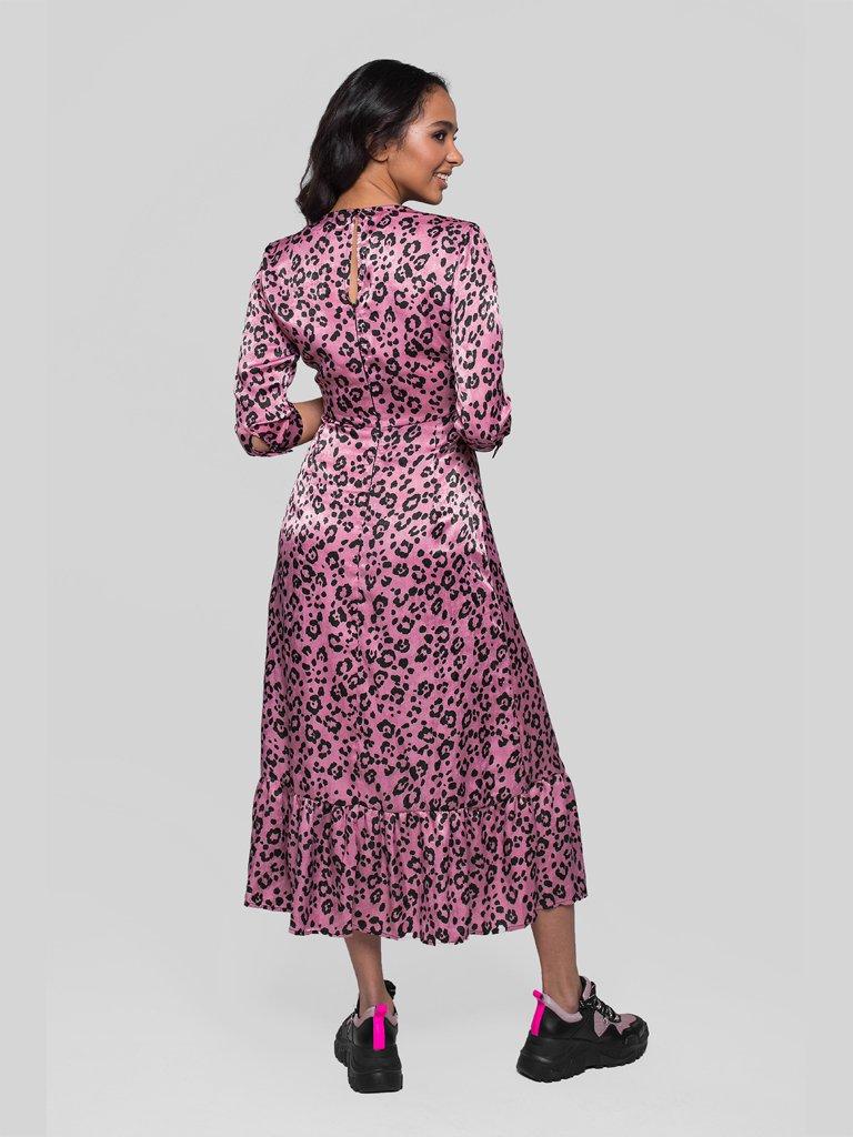 Różowa sukienka midi w panterkę Katarina Ivanenko (zdjęcie 4)