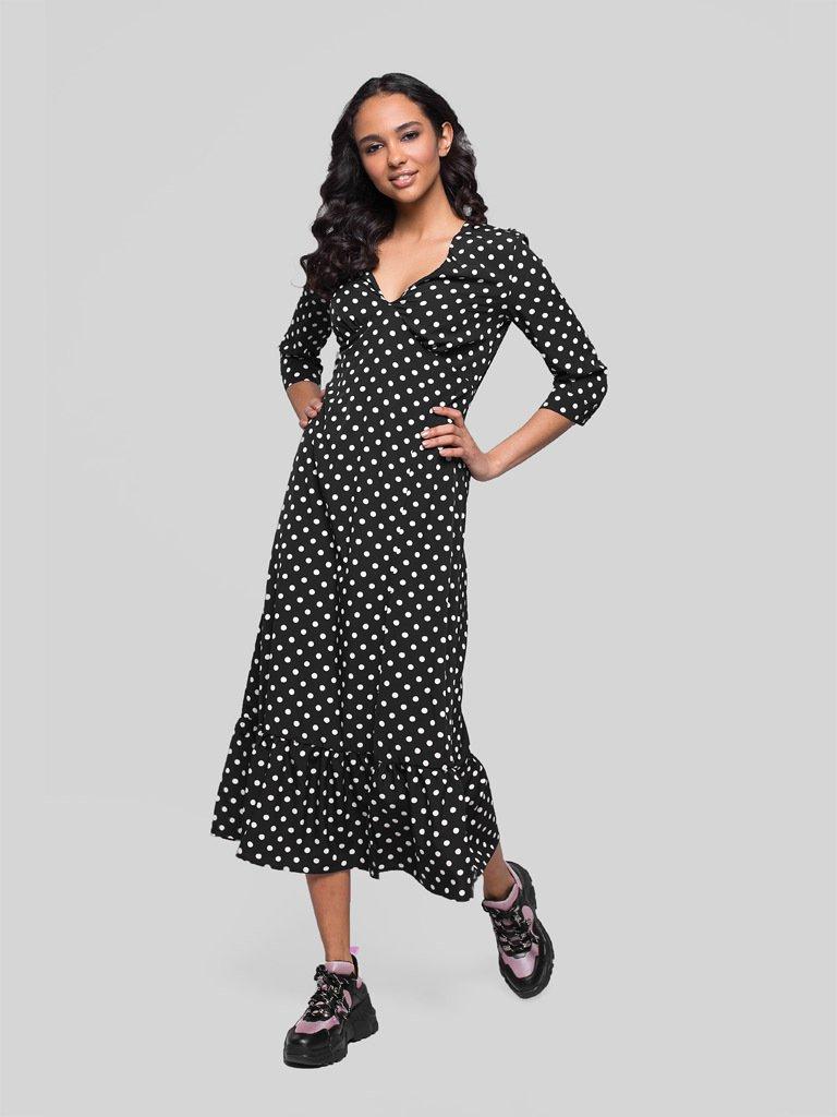 Czarna sukienka midi w groszek Katarina Ivanenko (zdjęcie 2)