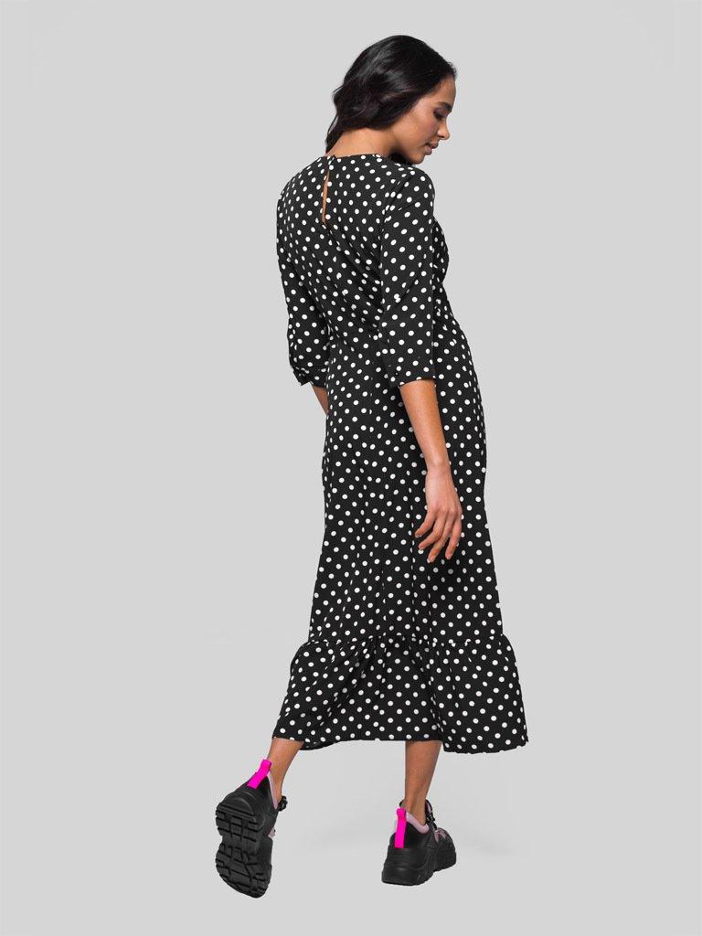 Czarna sukienka midi w groszek Katarina Ivanenko (zdjęcie 4)