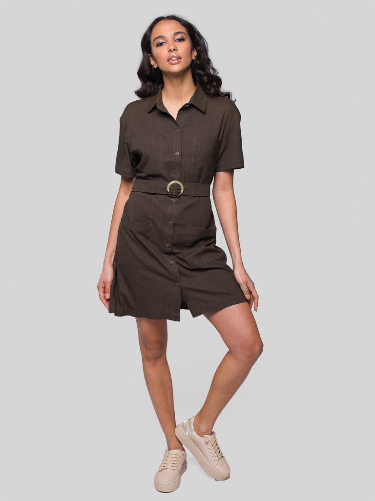 Lniana mini sukienka koszulowa w kolorze khaki Love&Live