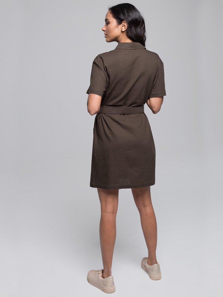 Lniana mini sukienka koszulowa w kolorze khaki Love&Live (zdjęcie 4)