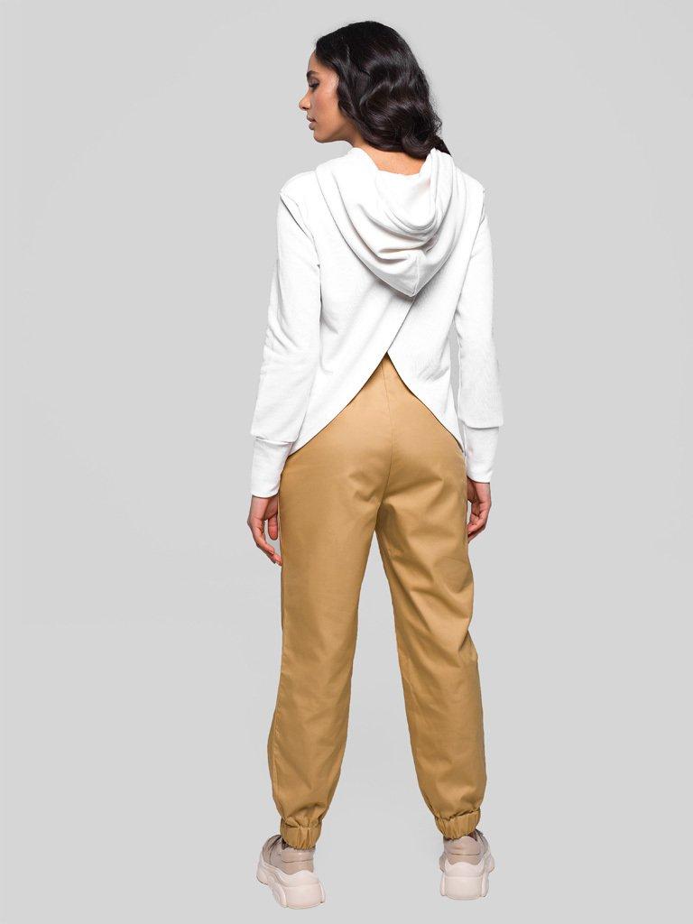 Beżowe spodnie joggersy w stylu bojówkowym z wysokim stanem Love&Live (zdjęcie 5)