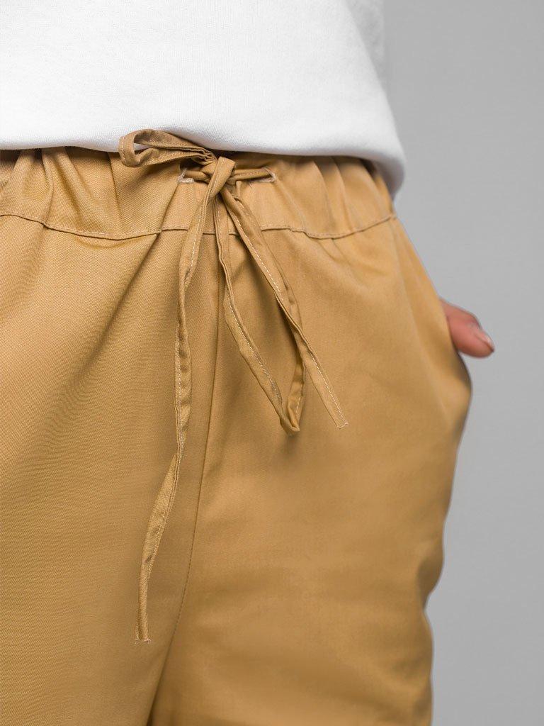 Beżowe spodnie joggersy w stylu bojówkowym z wysokim stanem Love&Live (zdjęcie 4)