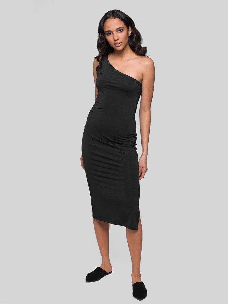 Czarna sukienka midi na jedno ramię Katarina Ivanenko (zdjęcie 3)