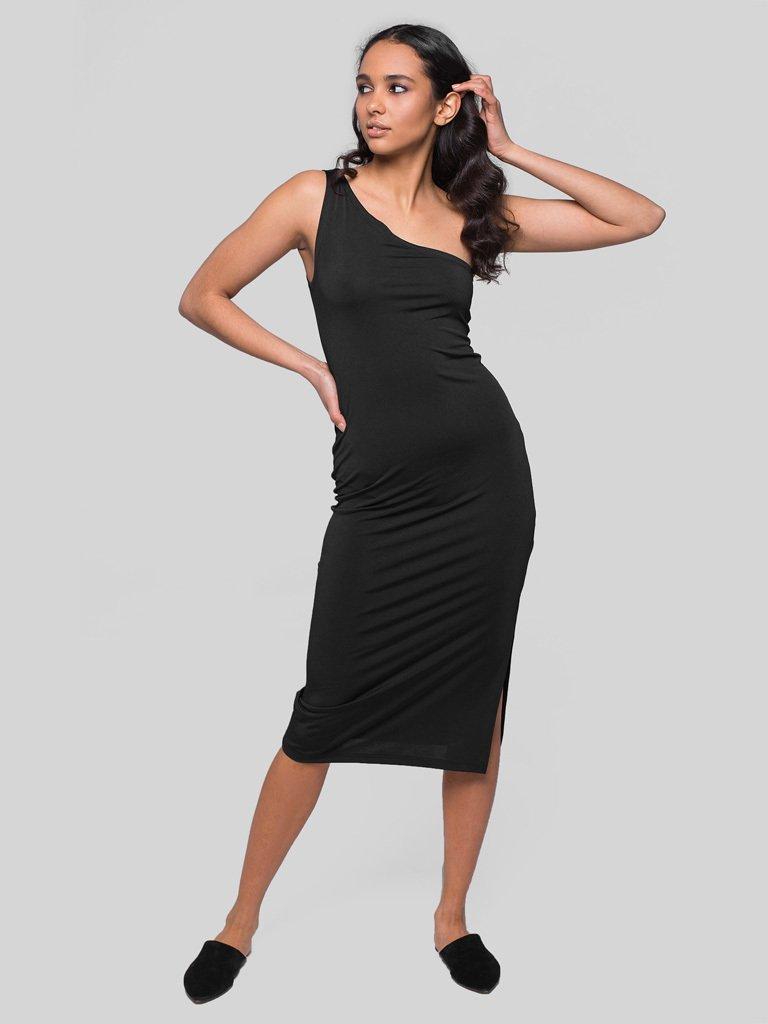 Czarna sukienka midi na jedno ramię Katarina Ivanenko