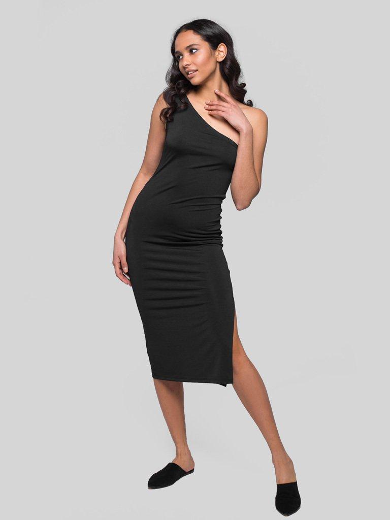 Czarna sukienka midi na jedno ramię Katarina Ivanenko (zdjęcie 2)