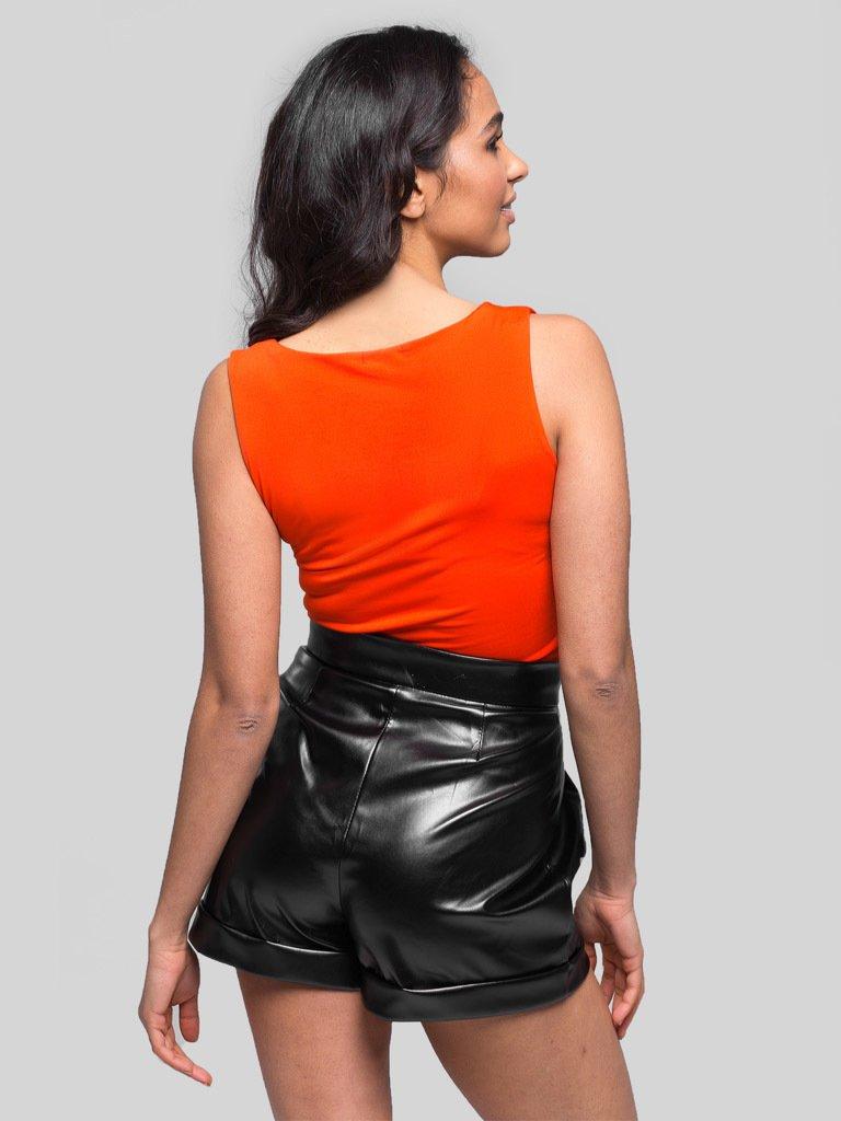 Czarne szorty z imitacji skóry Katarina Ivanenko (zdjęcie 4)