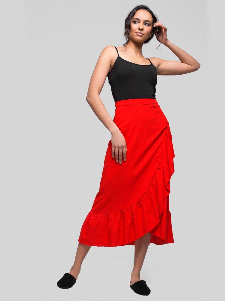Czerwona spódnica midi z rozcięciem i falbanką Love&Live (zdjęcie 2)