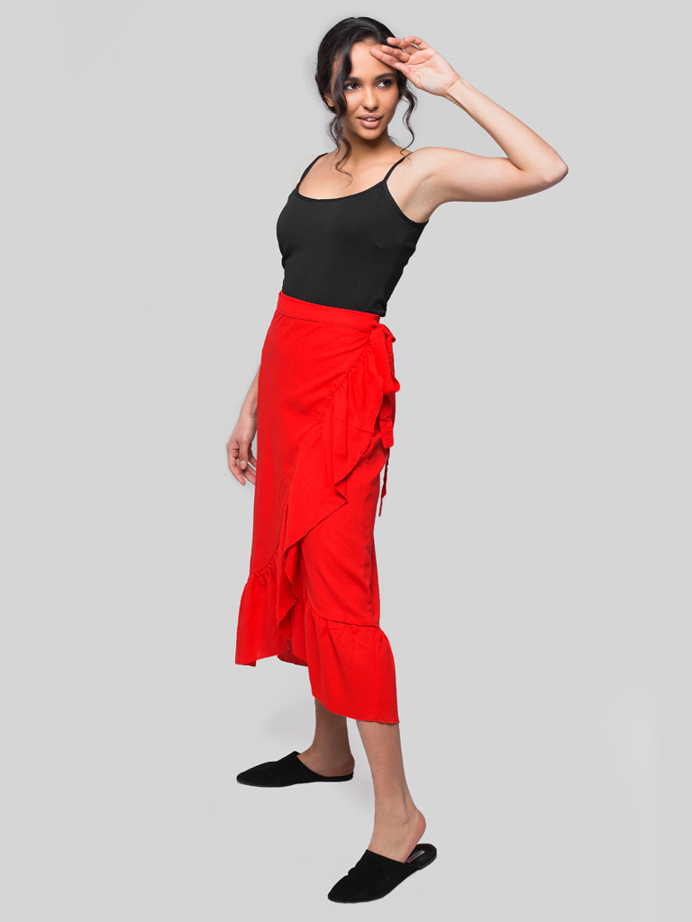 Czerwona spódnica midi z rozcięciem i falbanką Love&Live (zdjęcie 3)