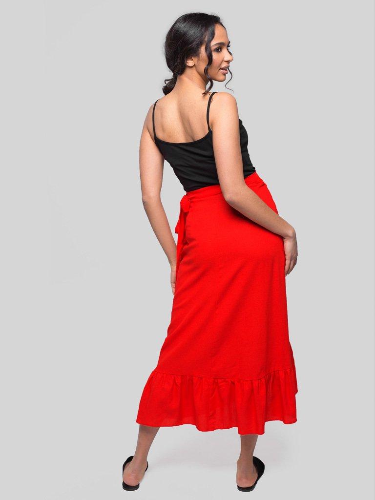 Czerwona spódnica midi z rozcięciem i falbanką Love&Live (zdjęcie 4)