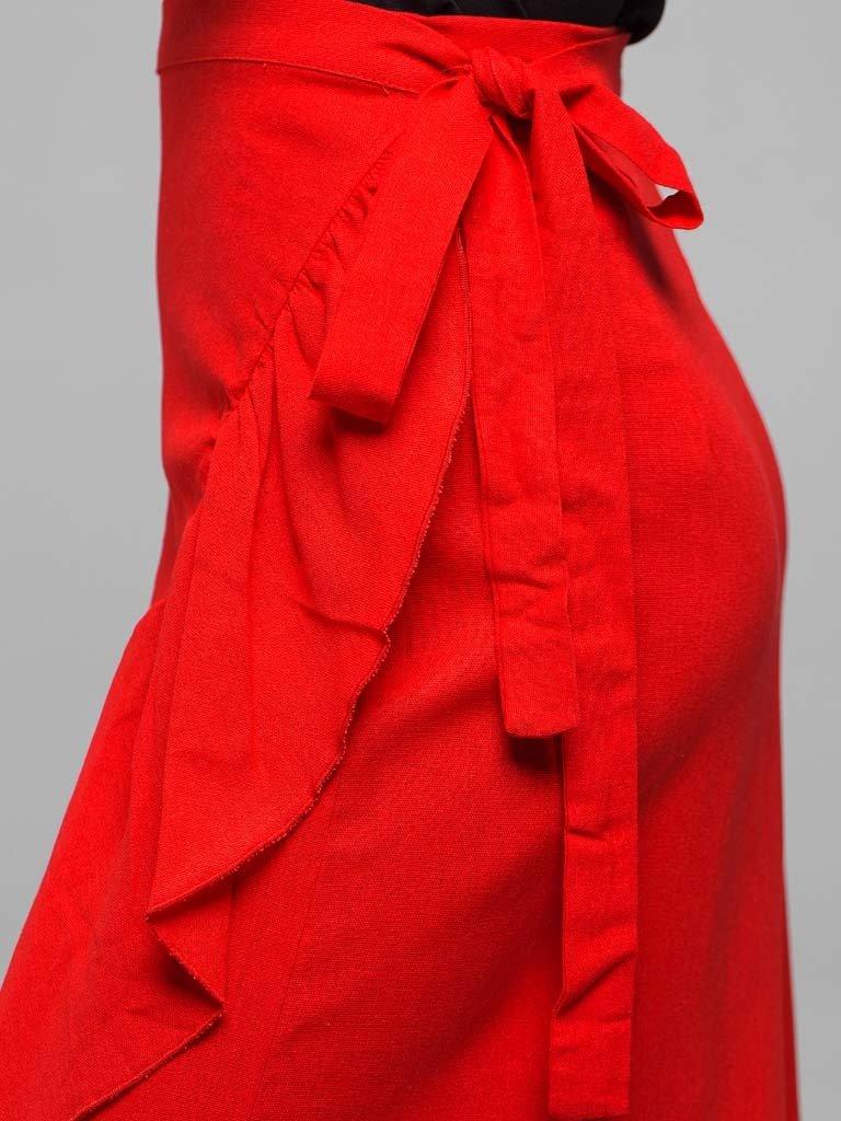 Czerwona spódnica midi z rozcięciem i falbanką Love&Live (zdjęcie 5)