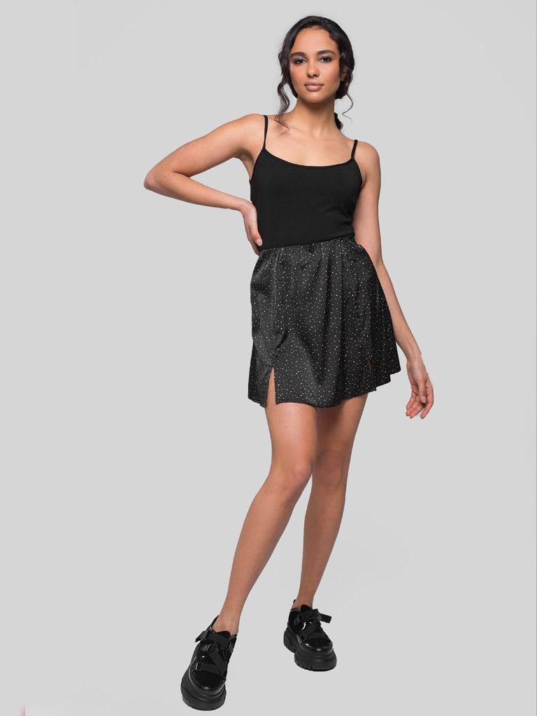 Czarna spódnica mini w różowy groszek Love&Live