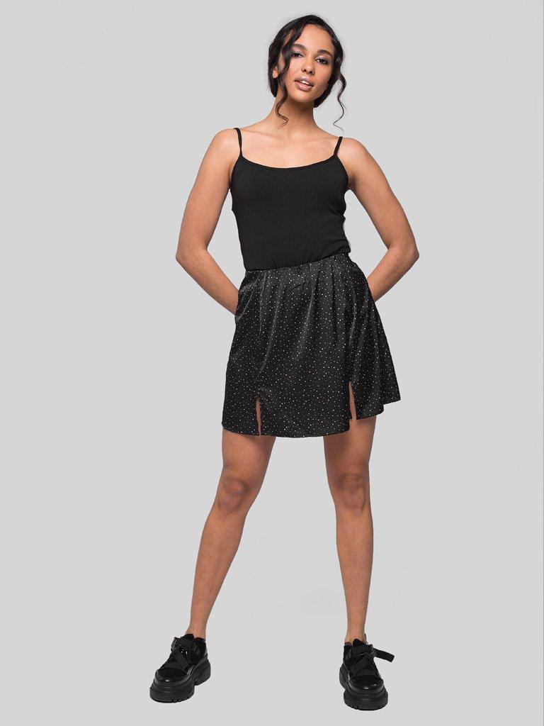 Czarna spódnica mini w różowy groszek Love&Live (zdjęcie 2)