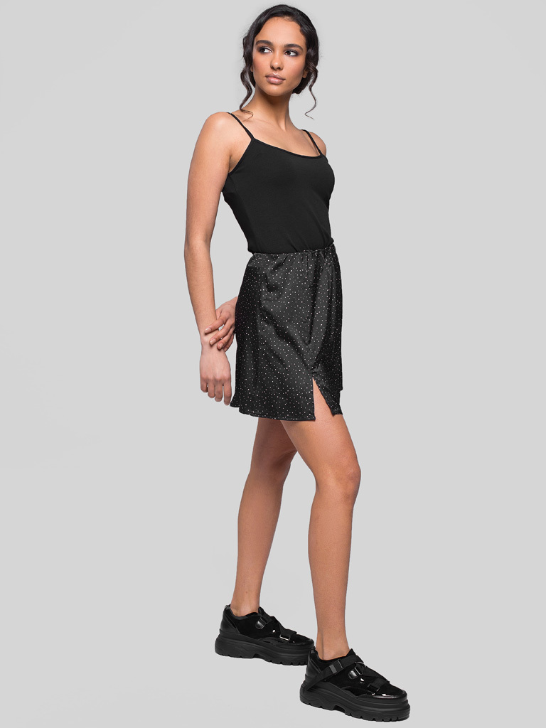 Czarna spódnica mini w różowy groszek Love&Live (zdjęcie 3)