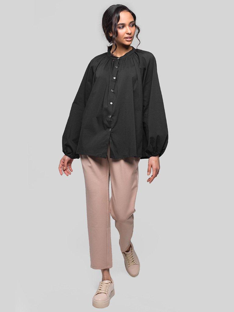 Bluzka oversize z popeliny czarna Katarina Ivanenko (zdjęcie 2)