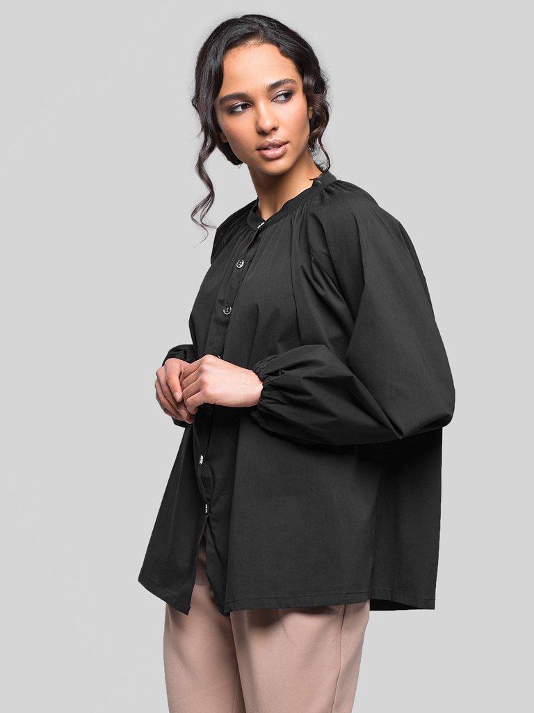 Bluzka oversize z popeliny czarna Katarina Ivanenko (zdjęcie 3)