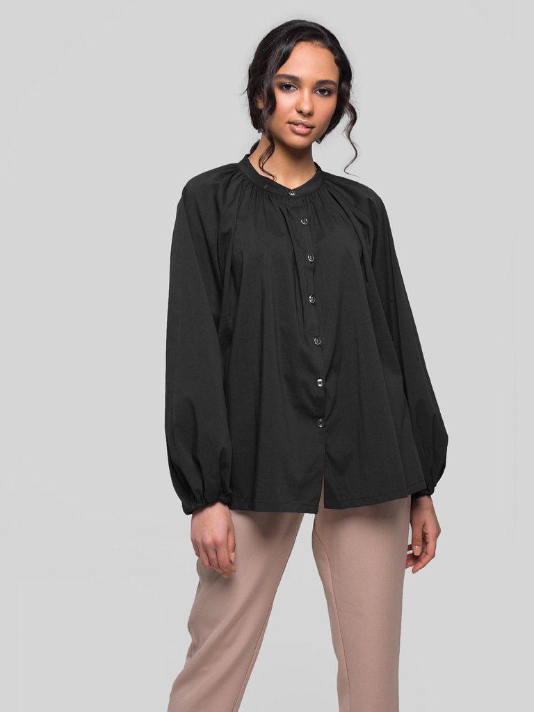 Bluzka oversize z popeliny czarna Katarina Ivanenko