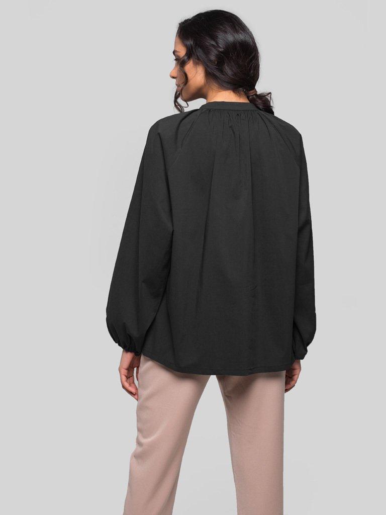 Bluzka oversize z popeliny czarna Katarina Ivanenko (zdjęcie 4)