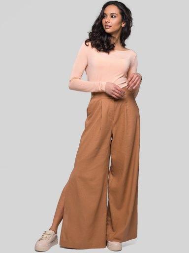 Lniane spodnie z szerokimi nogawkami brązowe Katarina Ivanenko (zdjęcie 6)