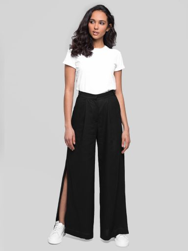 Lniane spodnie z szerokimi nogawkami Katarina Ivanenko (zdjęcie 4)