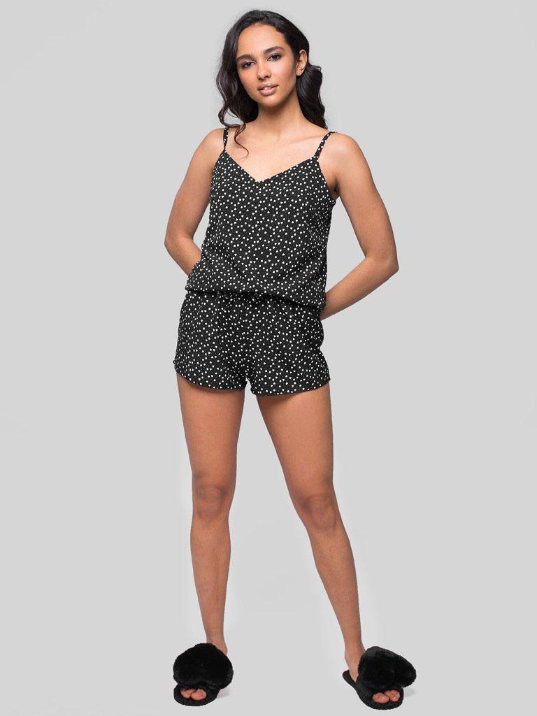 Czarna piżama satynowa z nadrukiem w serca Love&Live (zdjęcie 3)