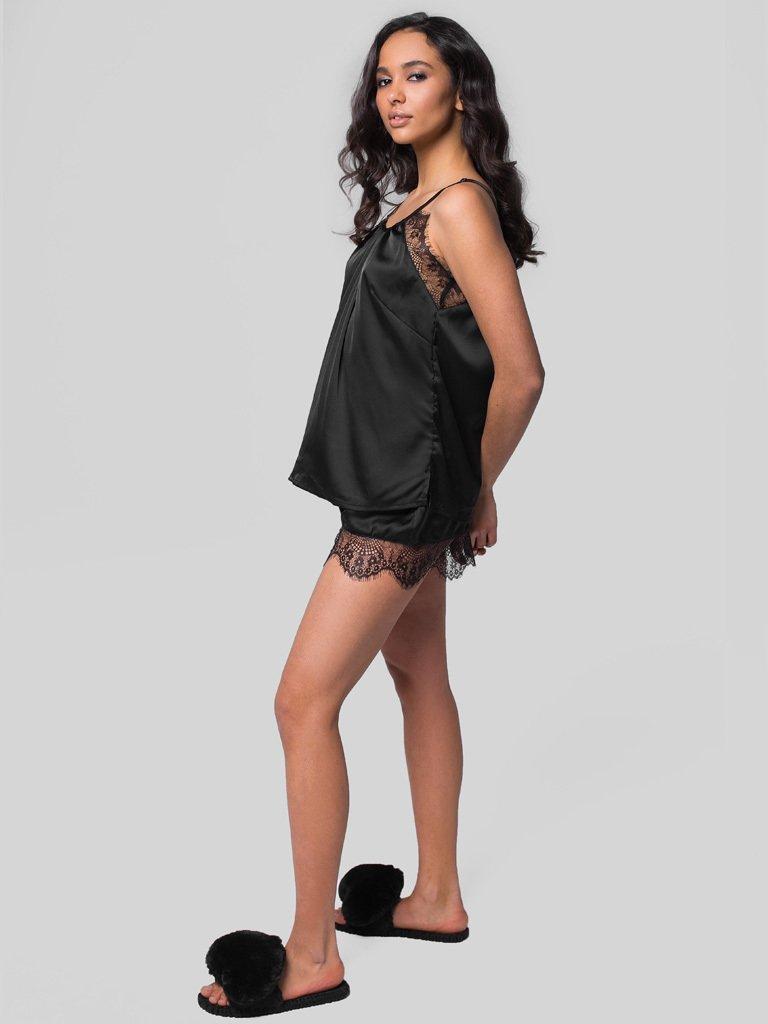 Czarna piżama satynowa z koronkowym wykończeniem Pure (zdjęcie 3)