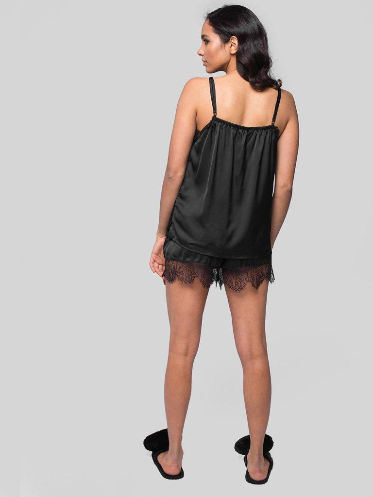 Czarna piżama satynowa z koronkowym wykończeniem Pure (zdjęcie 4)