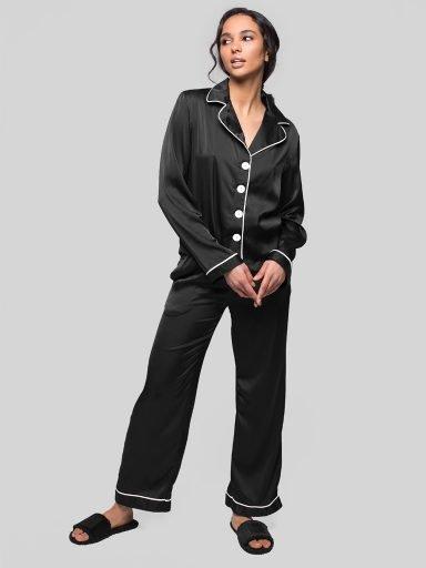 Czarna piżama satynowa (koszula, spodnie) PURE (zdjęcie 6)
