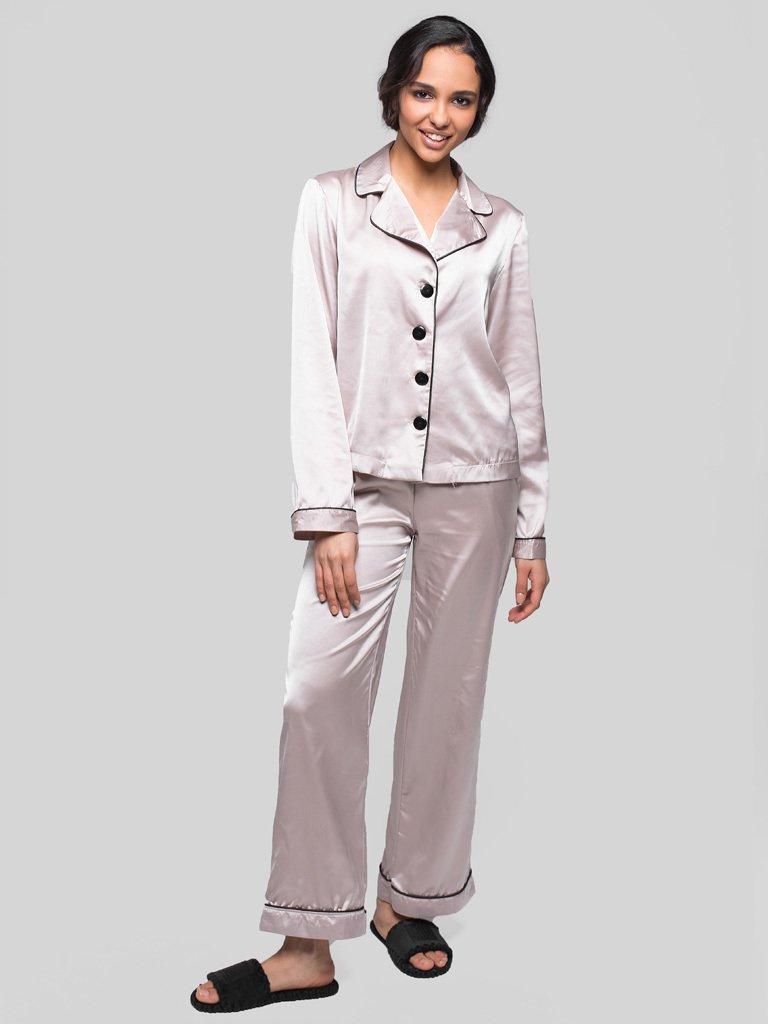 Beżowa piżama satynowa (koszula, spodnie) PURE (zdjęcie 2)