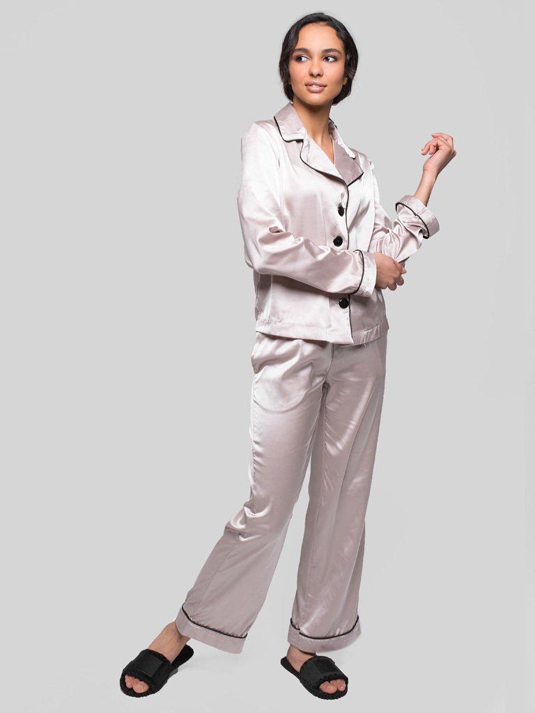 Beżowa piżama satynowa (koszula, spodnie) PURE