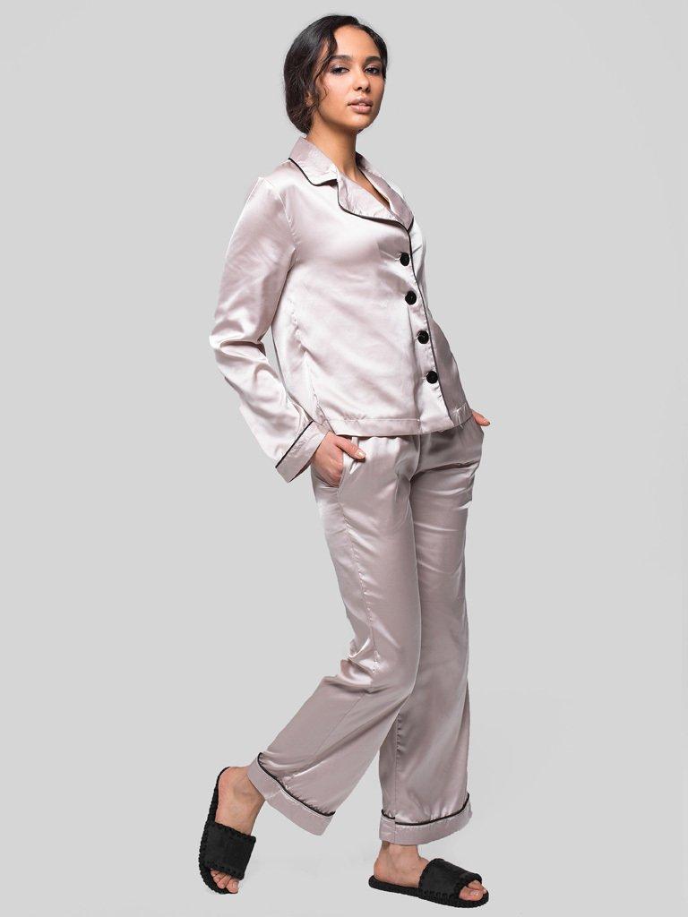 Beżowa piżama satynowa (koszula, spodnie) PURE (zdjęcie 3)