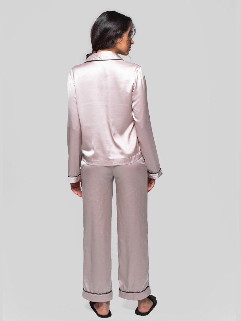 Beżowa piżama satynowa (koszula, spodnie) PURE (zdjęcie 4)