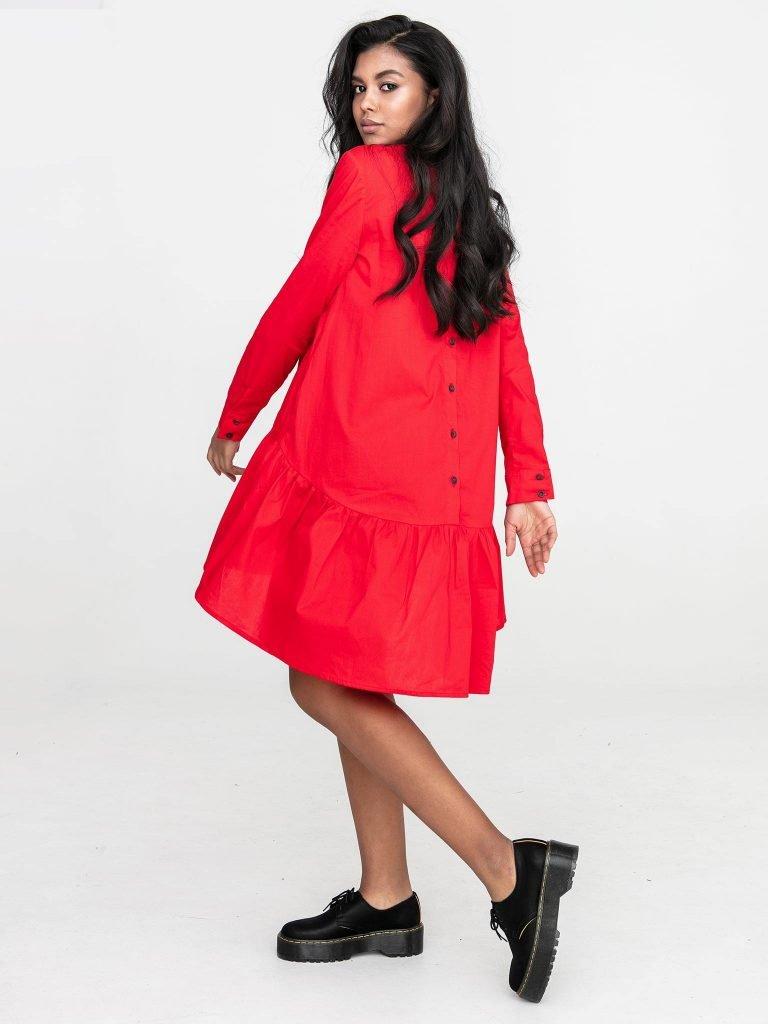 Czerwona sukienka koszulowa mini z falbanką Katarina Ivanenko (zdjęcie 4)