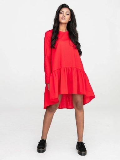 Czerwona sukienka koszulowa mini z falbanką Katarina Ivanenko (zdjęcie 7)