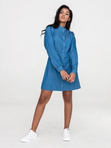 Sukienka koszulowa mini z denimu Love&Live (zdjęcie 7)