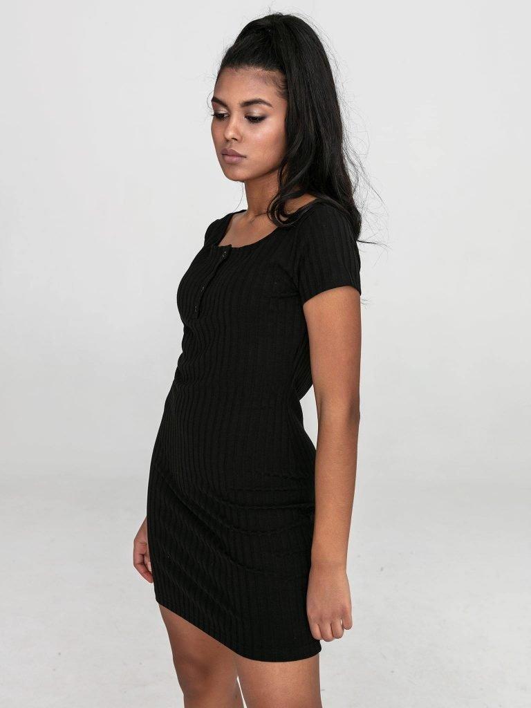 Czarna sukienka mini w prążkowane pasy Love&Live (zdjęcie 3)