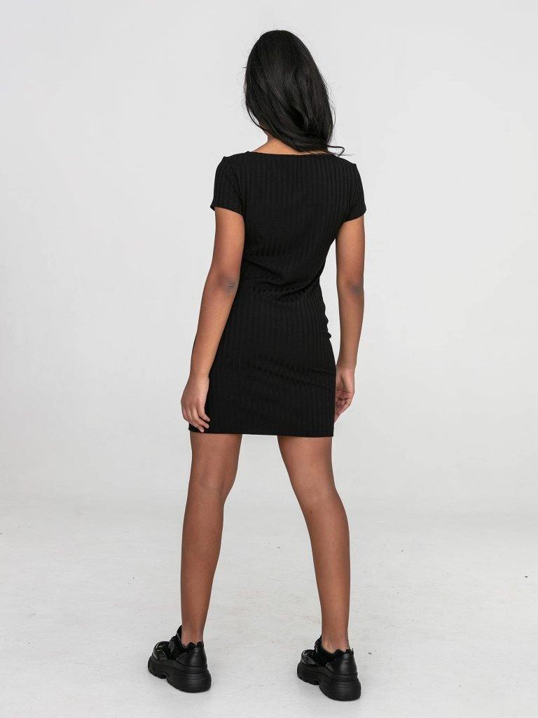 Czarna sukienka mini w prążkowane pasy Love&Live (zdjęcie 5)
