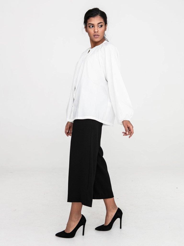 Bluzka oversize z popeliny w kolorze złamanej bieli Katarina Ivanenko (zdjęcie 3)