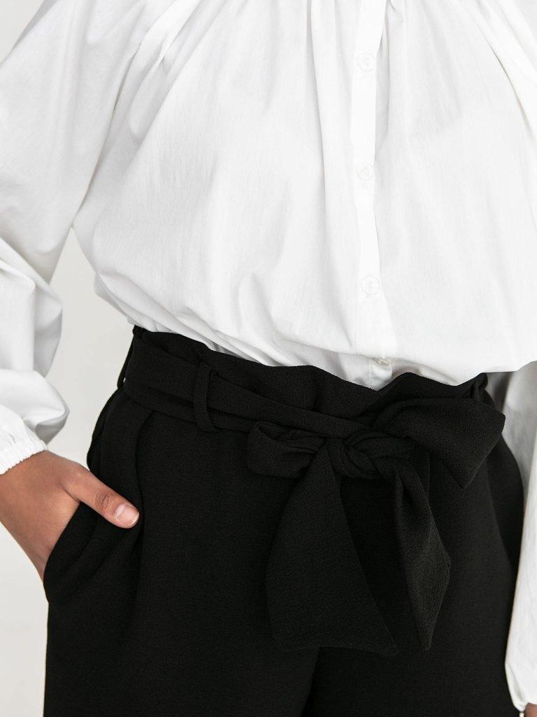 Czarne spodnie kuloty z wiązaniem w pasie Love&Live (zdjęcie 5)