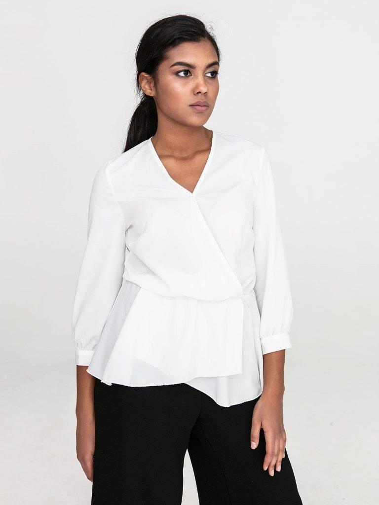 Kopertowa bluzka w kolorze złamanej bieli Katarina Ivanenko (zdjęcie 4)