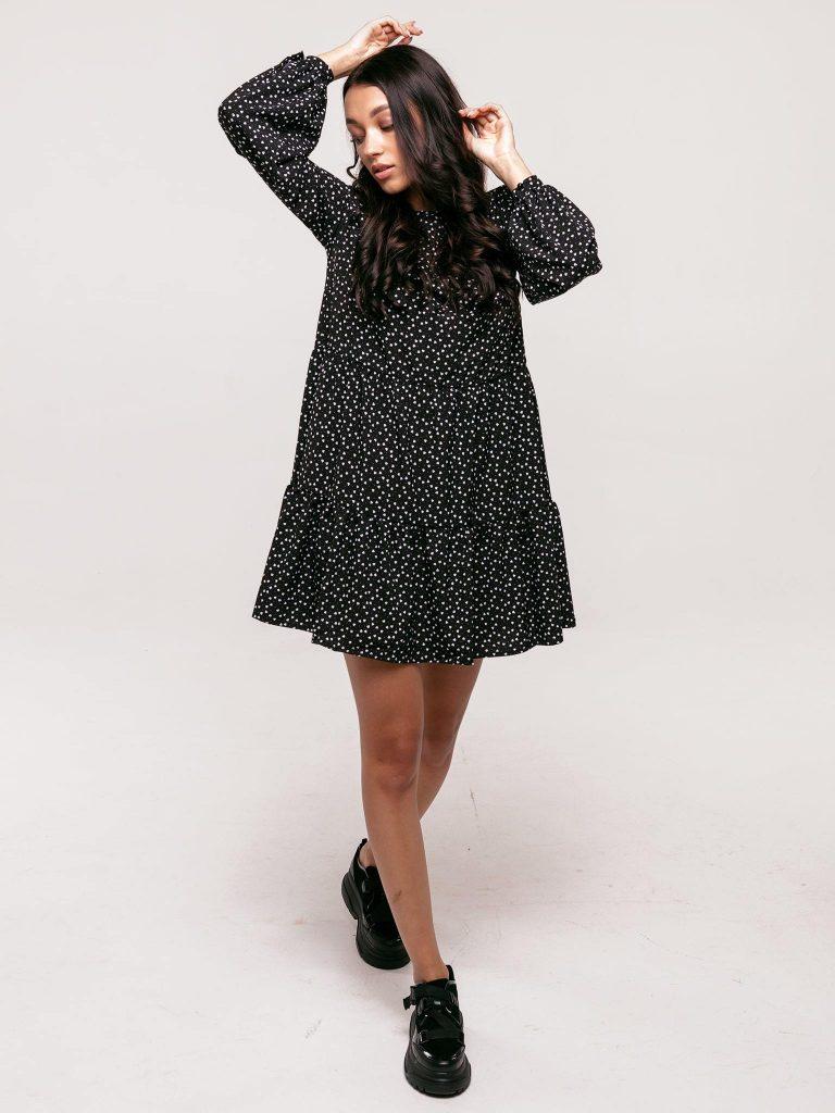 Czarna sukienka mini wykończona falbanką Love&Live (zdjęcie 2)