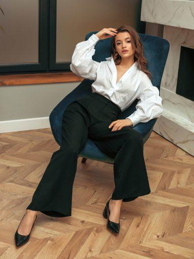 Czarne spodnie typu palazzo Katarina Ivanenko (zdjęcie 5)
