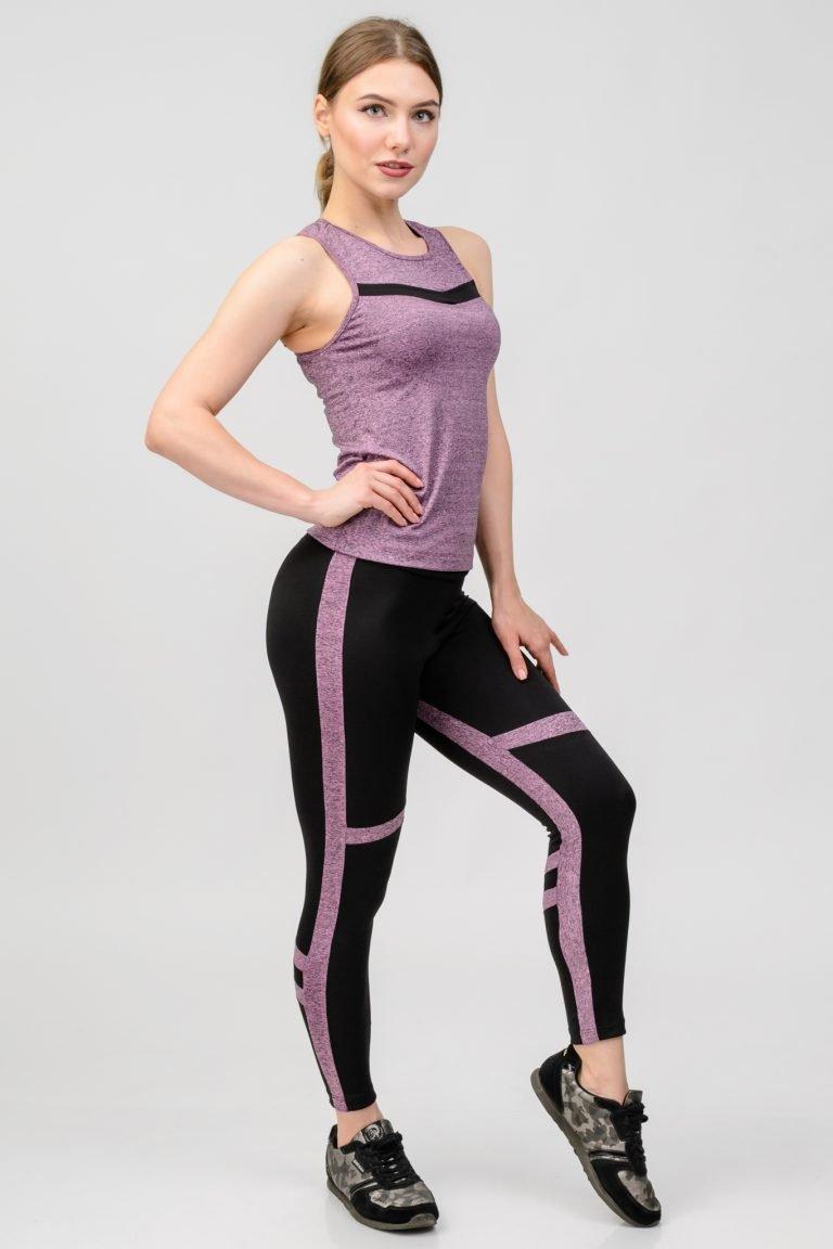 Strój fitness sportowy purpurowy (koszulka, legginsy) Pure
