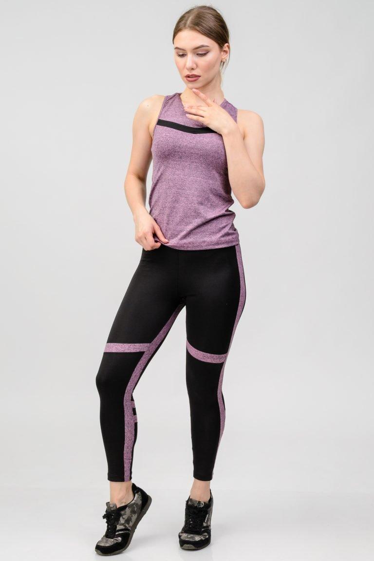 Strój fitness sportowy purpurowy (koszulka, legginsy) Pure (zdjęcie 2)