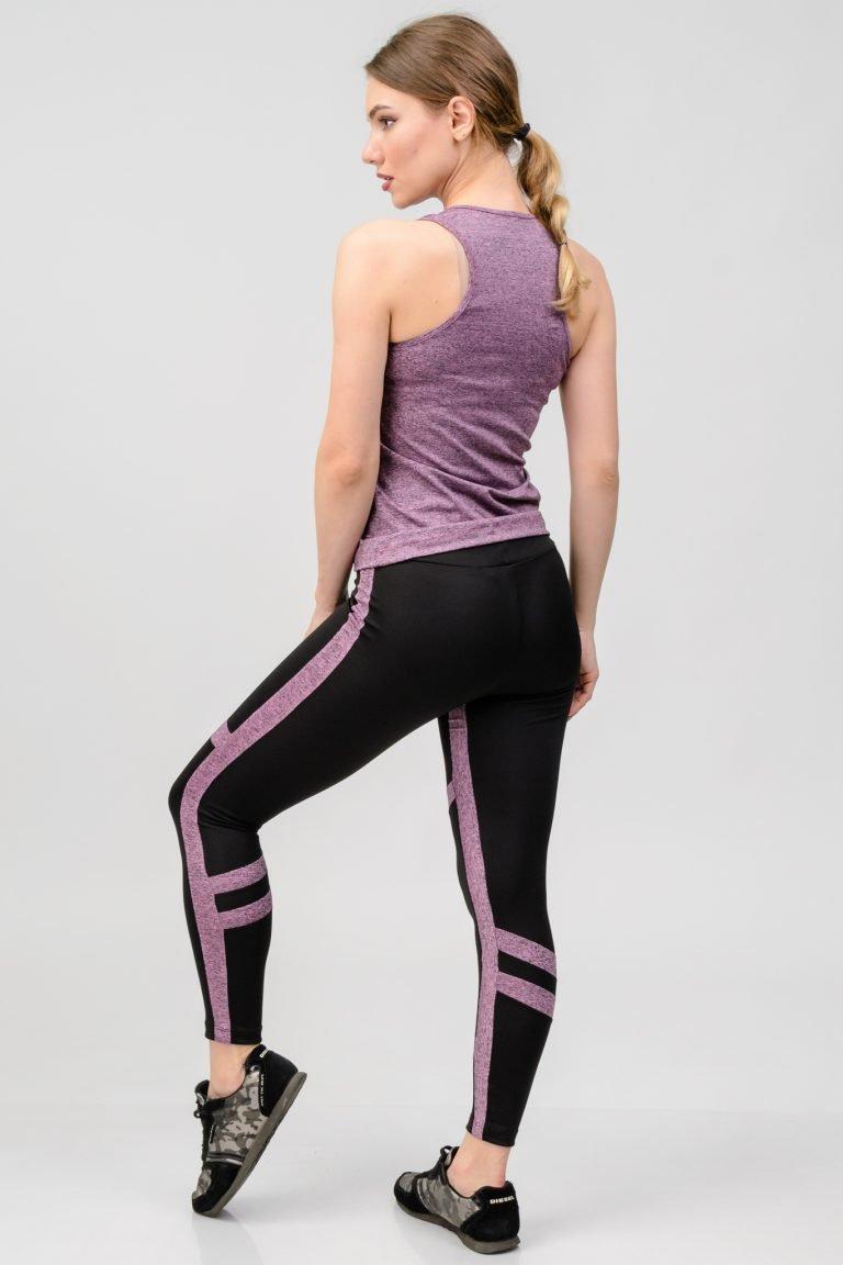 Strój fitness sportowy purpurowy (koszulka, legginsy) Pure (zdjęcie 3)