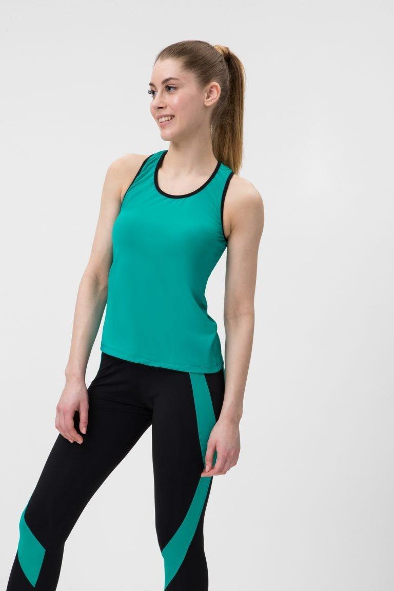 Strój fitness sportowy turkusowy (koszulka, legginsy) Pure (zdjęcie 4)